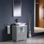 Torino 24'' Gray Modern Bathroom Vanity Set with Mirror and Faucet, Vessel Sink, 24'' W x 18-1/8'' D x 35-5/8'' H