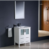 Torino 24'' White Modern Bathroom Vanity with Integrated Sink, Dimensions of Vanity: 24'' W x 18-1/8'' D x 33-3/4'' H