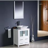 Torino 24'' White Modern Bathroom Vanity with Vessel Sink, Dimensions of Vanity: 24'' W x 18-1/8'' D x 35-5/8'' H