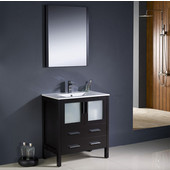 Torino 30'' Espresso Modern Bathroom Vanity with Integrated Sink, Dimensions of Vanity: 30'' W x 18-1/8'' D x 33-3/4'' H