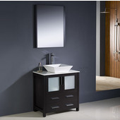 Torino 30'' Espresso Modern Bathroom Vanity with Vessel Sink, Dimensions of Vanity: 30'' W x 18-1/8'' D x 35-5/8'' H