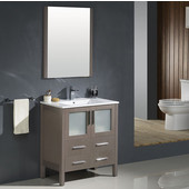 Torino 30'' Gray Oak Modern Bathroom Vanity with Integrated Sink, Dimensions of Vanity: 30'' W x 18-1/8'' D x 33-3/4'' H