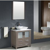 Torino 30'' Gray Oak Modern Bathroom Vanity with Vessel Sink, Dimensions of Vanity: 30'' W x 18-1/8'' D x 35-5/8'' H