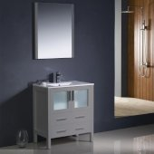 Torino 30'' Gray Modern Bathroom Vanity Set with Mirror and Faucet, Integrated Sink, 30'' W x 18-1/8'' D x 33-3/4'' H