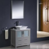 Torino 30'' Gray Modern Bathroom Vanity Set with Mirror and Faucet, Vessel Sink, 30'' W x 18-1/8'' D x 35-5/8'' H