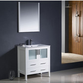 Torino 30'' White Modern Bathroom Vanity with Integrated Sink, Dimensions of Vanity: 30'' W x 18-1/8'' D x 33-3/4'' H