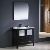 Torino 36'' Espresso Modern Bathroom Vanity with Integrated Sink, Dimensions of Vanity: 35-3/4'' W x 18-1/8'' D x 33-3/4'' H