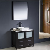 Torino 36'' Espresso Modern Bathroom Vanity with Vessel Sink, Dimensions of Vanity: 35-3/4'' W x 18-1/8'' D x 35-5/8'' H
