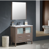 Torino 36'' Gray Oak Modern Bathroom Vanity with Integrated Sink, Dimensions of Vanity: 35-3/4'' W x 18-1/8'' D x 33-3/4'' H