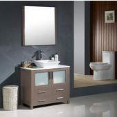 Torino 36'' Gray Oak Modern Bathroom Vanity with Vessel Sink, Dimensions of Vanity: 35-3/4'' W x 18-1/8'' D x 35-5/8'' H