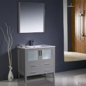 Torino 36'' Gray Modern Bathroom Vanity Set with Mirror and Faucet, Integrated Sink, 35-3/4'' W x 18-1/8'' D x 33-3/4'' H