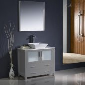 Torino 36'' Gray Modern Bathroom Vanity Set with Mirror and Faucet, Vessel Sink, 35-3/4'' W x 18-1/8'' D x 35-5/8'' H