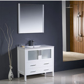 Torino 36'' White Modern Bathroom Vanity with Integrated Sink, Dimensions of Vanity: 35-3/4'' W x 18-1/8'' D x 33-3/4'' H