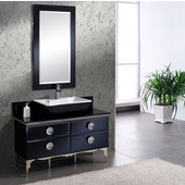 Moselle 47'' Modern Glass Bathroom Vanity with Mirror, Dimensions of Vanity: 47-1/4'' W x 18'' D x 34'' H