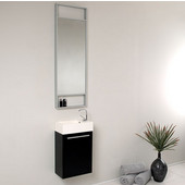 Pulito 16'' Small Black Modern Wall Mounted Bathroom Vanity with Tall Mirror, Dimensions of Vanity: 15-1/2'' W x 8-1/2'' D x 24-3/4'' H