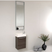 Pulito 16'' Small Gray Oak Modern Bathroom Vanity with Tall Mirror, Dimensions of Vanity: 15-1/2'' W x 8-1/2'' D x 24-3/4'' H