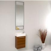 Pulito 16'' Small Teak Modern Bathroom Vanity with Tall Mirror, Dimensions of Vanity: 15-1/2'' W x 8-1/2'' D x 24-3/4'' H