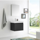 Nano 24'' Black Modern Wall Mounted Bathroom Vanity with Medicine Cabinet, Dimensions of Vanity: 23-3/8'' W x 18-3/4'' D x 21-1/4'' H