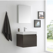 Nano 24'' Gray Oak Modern Bathroom Vanity with Medicine Cabinet, Dimensions of Vanity: 23-3/8'' W x 18-3/4'' D x 21-1/4'' H