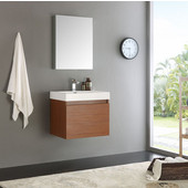 Nano 24'' Teak Modern Bathroom Vanity with Medicine Cabinet, Dimensions of Vanity: 23-3/8'' W x 18-3/4'' D x 21-1/4'' H