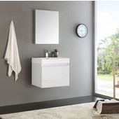 Nano 24'' White Modern Bathroom Vanity with Medicine Cabinet, Dimensions of Vanity: 23-3/8'' W x 18-3/4'' D x 21-1/4'' H