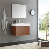 Mezzo 30'' Teak Wall Hung Modern Bathroom Vanity with Medicine Cabinet, Dimensions of Vanity: 29-1/2'' W x 18-7/8'' D x 21-5/8'' H