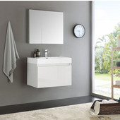 Mezzo 30'' White Wall Hung Modern Bathroom Vanity with Medicine Cabinet, Dimensions of Vanity: 29-1/2'' W x 18-7/8'' D x 21-5/8'' H