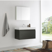 Mezzo 36'' Black Wall Hung Modern Bathroom Vanity with Medicine Cabinet, Vanity: 35-3/8'' W x 18-7/8'' D x 21-5/8'' H