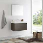 Mezzo 36'' Gray Oak Wall Hung Modern Bathroom Vanity with Medicine Cabinet, Vanity: 35-3/8'' W x 18-7/8'' D x 21-5/8'' H