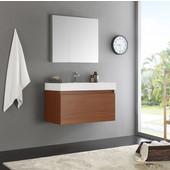 Mezzo 36'' Teak Wall Hung Modern Bathroom Vanity with Medicine Cabinet, Vanity: 35-3/8'' W x 18-7/8'' D x 21-5/8'' H