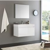 Mezzo 36'' White Wall Hung Modern Bathroom Vanity with Medicine Cabinet, Vanity: 35-3/8'' W x 18-7/8'' D x 21-5/8'' H