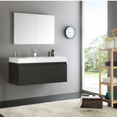 Mezzo 48'' Black Wall Hung Modern Bathroom Vanity with Medicine Cabinet, Dimensions of Vanity: 47-5/16'' W x 18-7/8'' D x 21-5/8'' H