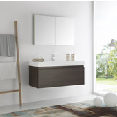 Mezzo 48'' Gray Oak Wall Hung Modern Bathroom Vanity with Medicine Cabinet, Dimensions of Vanity: 47-5/16'' W x 18-7/8'' D x 21-5/8'' H