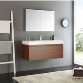 Mezzo 48'' Teak Wall Hung Modern Bathroom Vanity with Medicine Cabinet, Dimensions of Vanity: 47-5/16'' W x 18-7/8'' D x 21-5/8'' H