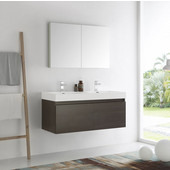 Mezzo 48'' Gray Oak Wall Hung Double Sink Modern Bathroom Vanity with Medicine Cabinet, Dimensions of Vanity: 47-5/16'' W x 18-7/8'' D x 21-5/8'' H