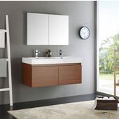 Mezzo 48'' Teak Wall Hung Double Sink Modern Bathroom Vanity with Medicine Cabinet, Dimensions of Vanity: 47-5/16'' W x 18-7/8'' D x 21-5/8'' H