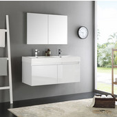Mezzo 48'' White Wall Hung Double Sink Modern Bathroom Vanity with Medicine Cabinet, Dimensions of Vanity: 47-5/16'' W x 18-7/8'' D x 21-5/8'' H