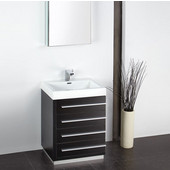 Livello 24'' Black Modern Bathroom Vanity with Medicine Cabinet, Dimensions of Vanity: 23-3/8'' W x 18-5/8'' D x 33-1/2'' H
