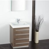 Livello 24'' Gray Oak Modern Bathroom Vanity with Medicine Cabinet, Dimensions of Vanity: 23-3/8'' W x 18-5/8'' D x 33-1/2'' H