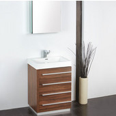 Livello 24'' Walnut Modern Bathroom Vanity with Medicine Cabinet, Dimensions of Vanity: 23-3/8'' W x 18-5/8'' D x 33-1/2'' H