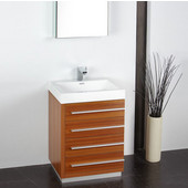 Livello 24'' Teak Modern Bathroom Vanity with Medicine Cabinet, Dimensions of Vanity: 23-3/8'' W x 18-5/8'' D x 33-1/2'' H