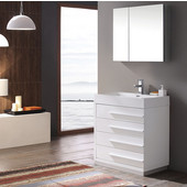 Livello 24'' White Modern Bathroom Vanity with Medicine Cabinet, Dimensions of Vanity: 23-3/8'' W x 18-5/8'' D x 33-1/2'' H