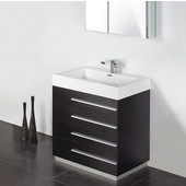 Livello 30'' Black Modern Bathroom Vanity with Medicine Cabinet, Dimensions of Vanity: 29-3/8'' W x 18-3/4'' D x 33-1/2'' H