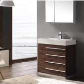 Livello 30'' Walnut Modern Bathroom Vanity with Medicine Cabinet, Dimensions of Vanity: 29-3/8'' W x 18-3/4'' D x 33-1/2'' H