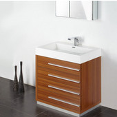 Livello 30'' Teak Modern Bathroom Vanity with Medicine Cabinet, Dimensions of Vanity: 29-3/8'' W x 18-3/4'' D x 33-1/2'' H
