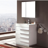 Livello 30'' White Modern Bathroom Vanity with Medicine Cabinet, Dimensions of Vanity: 29-3/8'' W x 18-3/4'' D x 33-1/2'' H