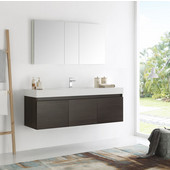 Mezzo 60'' Gray Oak Wall Hung Single Sink Modern Bathroom Vanity with Medicine Cabinet, Dimensions of Vanity: 59'' W x 18-7/8'' D x 21-5/8'' H
