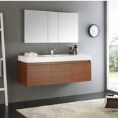 Mezzo 60'' Teak Wall Hung Single Sink Modern Bathroom Vanity with Medicine Cabinet, Dimensions of Vanity: 59'' W x 18-7/8'' D x 21-5/8'' H