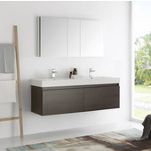 Mezzo 60'' Gray Oak Wall Hung Double Sink Modern Bathroom Vanity with Medicine Cabinet, Dimensions of Vanity: 59'' W x 18-7/8'' D x 21-5/8'' H