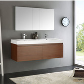 Mezzo 60'' Teak Wall Hung Double Sink Modern Bathroom Vanity with Medicine Cabinet, Dimensions of Vanity: 59'' W x 18-7/8'' D x 21-5/8'' H
